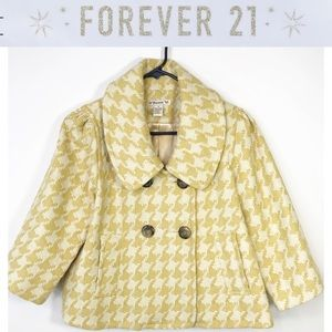 Forever21 Wool yellow gold white hounds tooth Med
